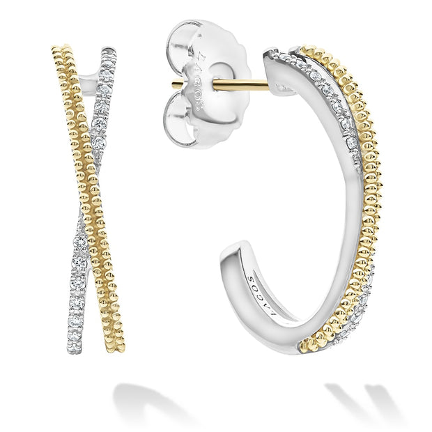 "Sterling Silver and 18K Yellow Gold Caviar Lux ""X"" Diamond Hoop Earrings"