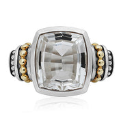 Sterling Silver and 18K Yellow Gold Caviar Color Collection White Topaz Ring