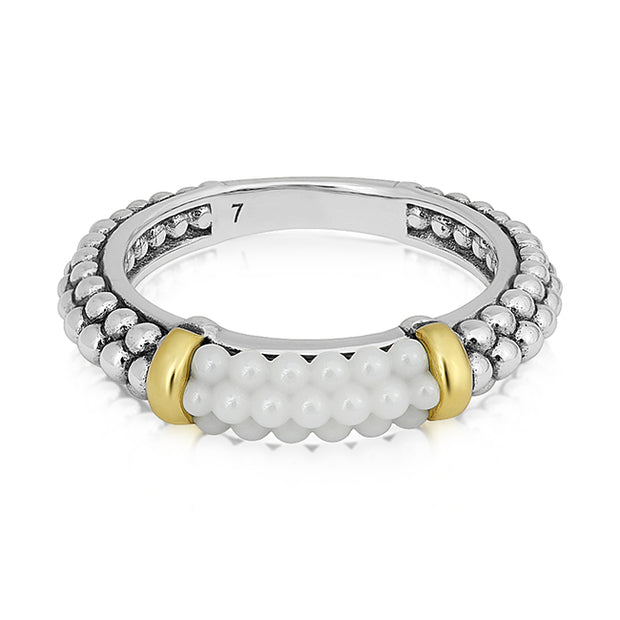 Sterling Silver Ring with White Ceramic Beading