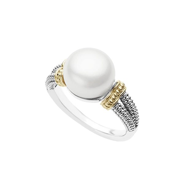 Sterling Silver and 18K Yellow Gold Luna Collection Pearl Ring