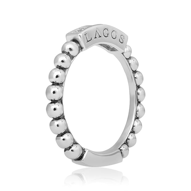 Sterling Silver Caviar Collection Stacking Diamond Ring