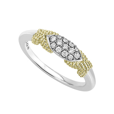 Sterling Silver and 18K Yellow Gold Caviar Lux Collection Diamond Ring