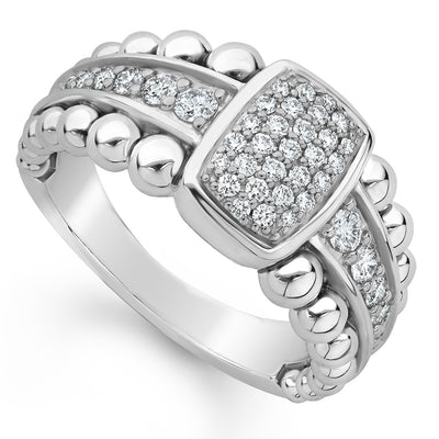 Sterling Silver Caviar Spark Collection Large Station Diamond Ring