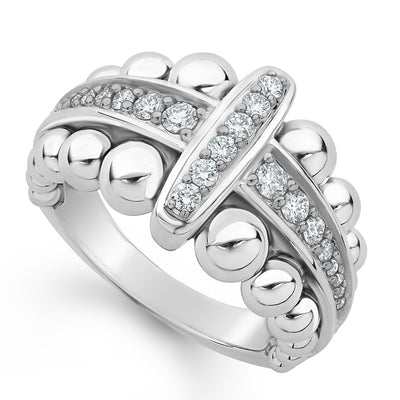 Sterling Silver Caviar Spark Collection Small Station Diamond Ring