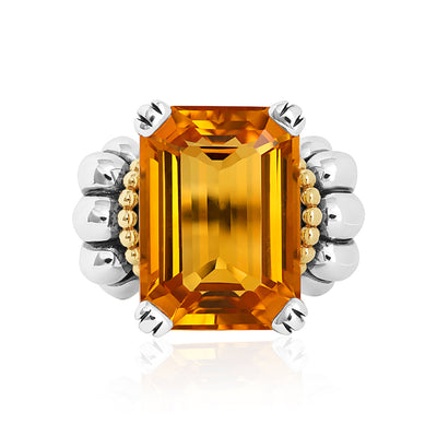 Sterling Silver and 18K Yellow Gold Glacier Collection Citrine Ring