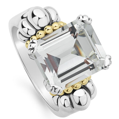 Sterling Silver and 18K Yellow Gold Glacier Collection White Topaz Ring