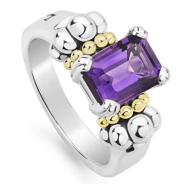 Sterling Silver and 18K Yellow Gold Glacier Collection Amethyst Ring