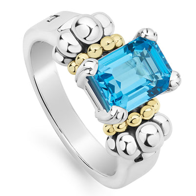 Sterling Silver and 18K Yellow Gold Glacier Collection Blue Topaz Ring
