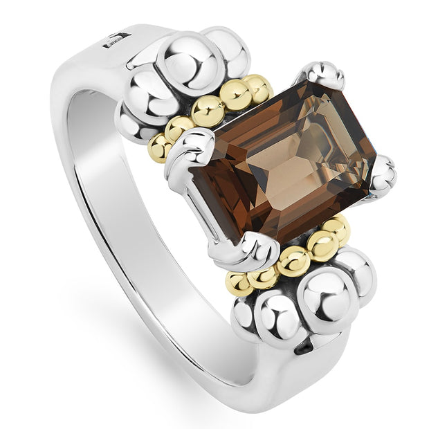 Sterling Silver and 18K Yellow Gold Glacier Collection Smoky Quartz Ring