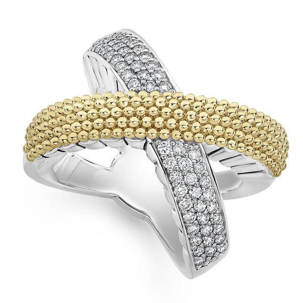 "Sterling Silver and 18K Yellow Gold Caviar Lux Collection ""X"" Diamond Ring"