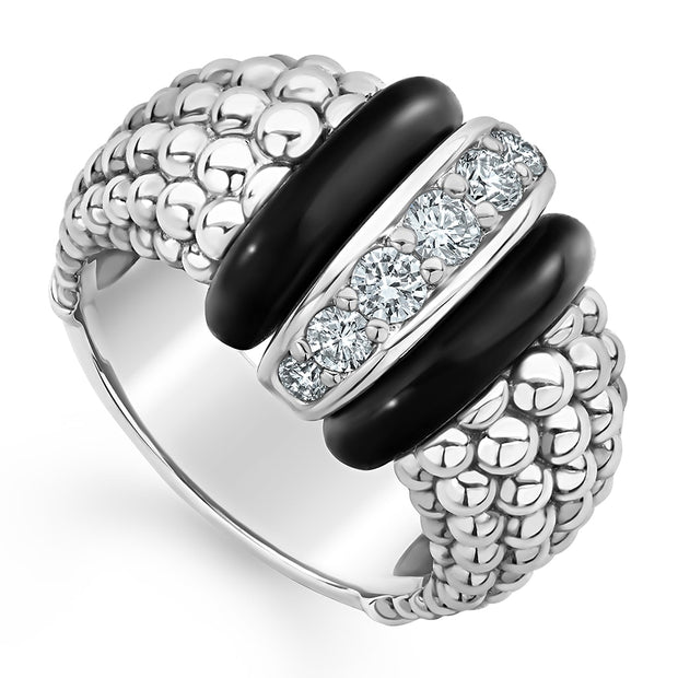 Sterling Silver Black Ceramic Caviar Wide Station Diamond Ring