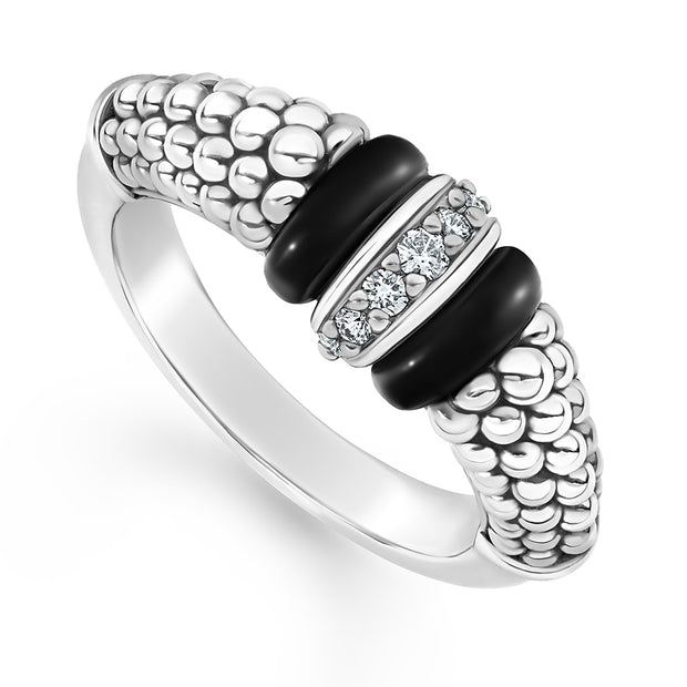 Sterling Silver Black Ceramic Caviar Narrow Station Diamond Ring