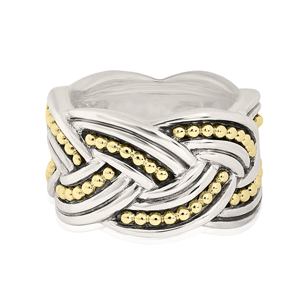 Sterling Silver and 18K Yellow Gold Wide Knot Ring