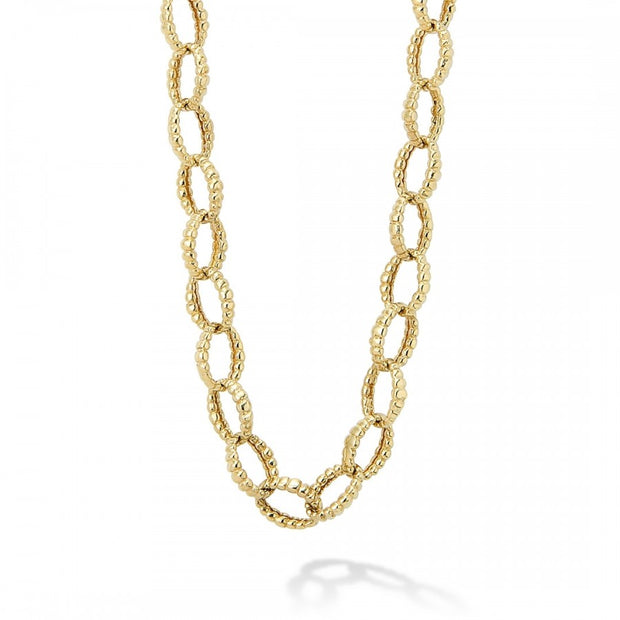 18K Yellow Gold Caviar Gold Collection Link Necklace