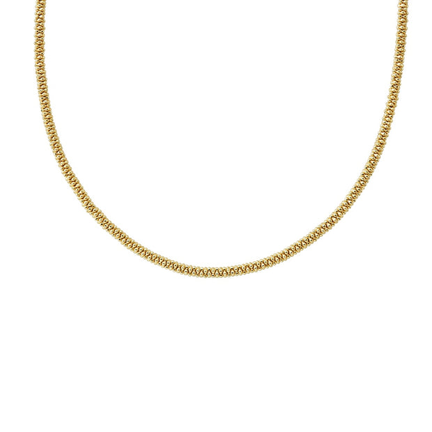18K Yellow Gold Caviar Gold Collection Rope Necklace