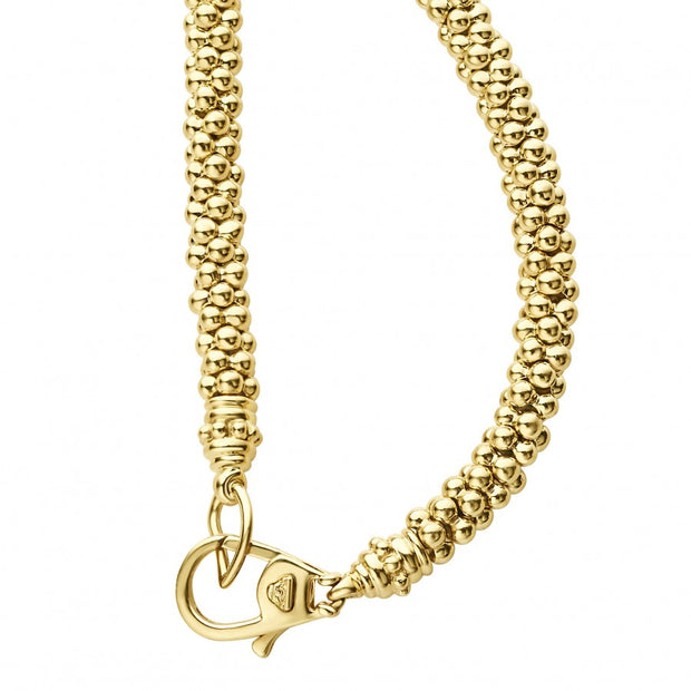 18K Yellow Gold Caviar Gold Collection Diamond Necklace