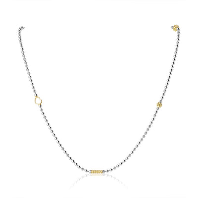 Sterling Silver and 18K Yellow Gold Caviar Icon Collection Necklace