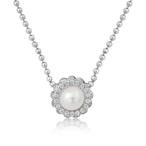 LAGOS Sterling Silver Luna Collection Necklace with a Pearl and Diamond Pendant