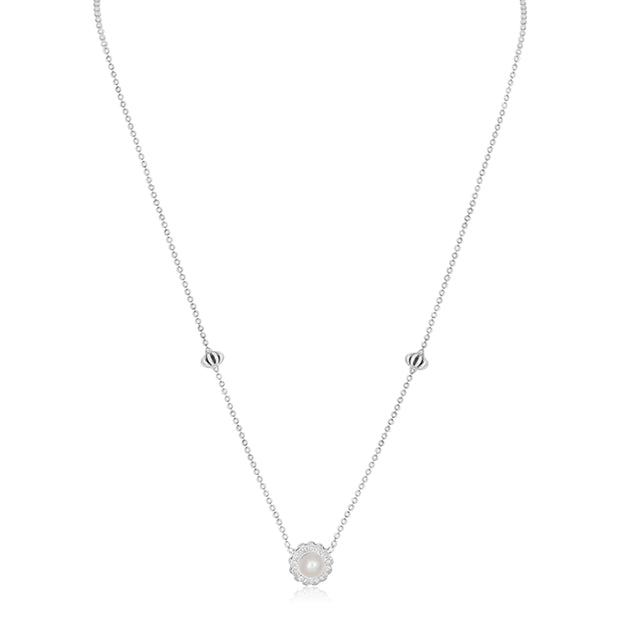 Sterling Silver Luna Collection Necklace with a Pearl and Diamond Pendant