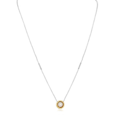 Sterling Silver Luna Collection Necklace with a Pearl and 18K Yellow Gold Pendant