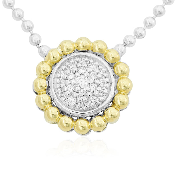 Sterling Silver and 18K Yellow Gold Diamond Necklace - TIVOL