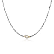 Sterling Silver and 18K Yellow Gold Luna Collection Pearl Necklace