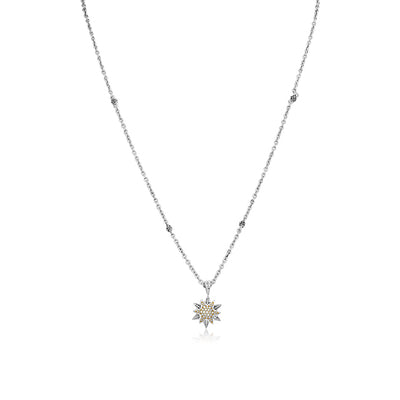 Sterling Silver North Star Necklace with Diamonds