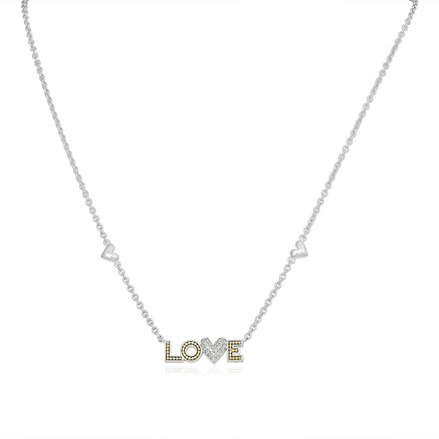 Sterling Silver Love Necklace with a Diamond Heart Station