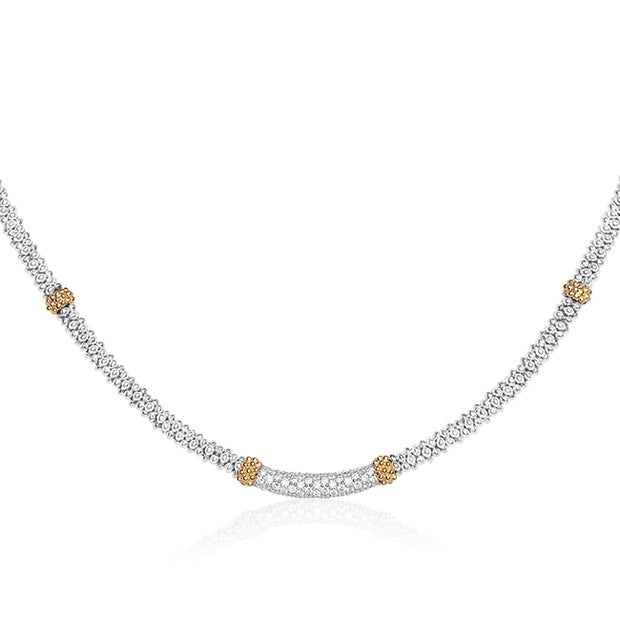 Sterling Silver and Caviar Beaded Necklace with Diamonds