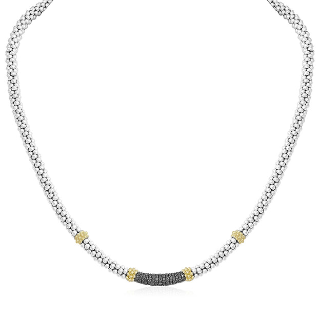 Sterling Silver Caviar Lux Collection Beaded Black Diamond Necklace
