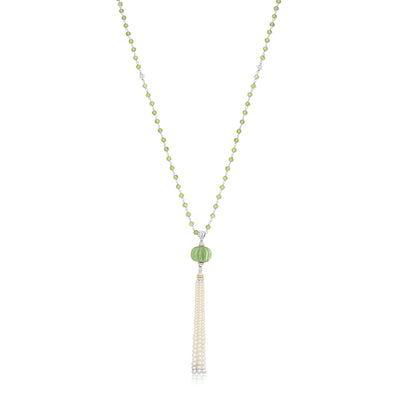 Caviar Forever Necklace with Green Amethyst and Pearls