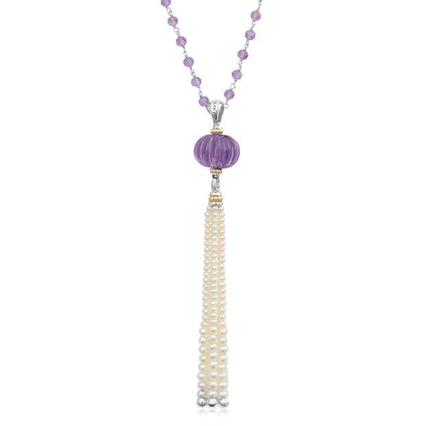 Caviar Forever Necklace with Rose De France Gemstones and Pearls