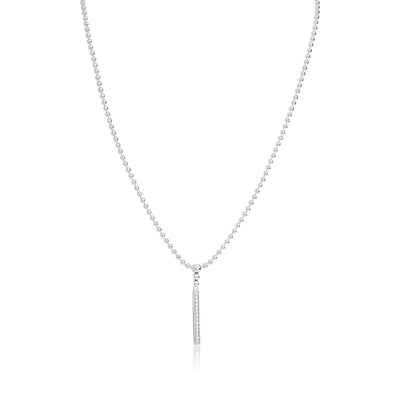Sterling Silver and Diamond Bar Station Necklace