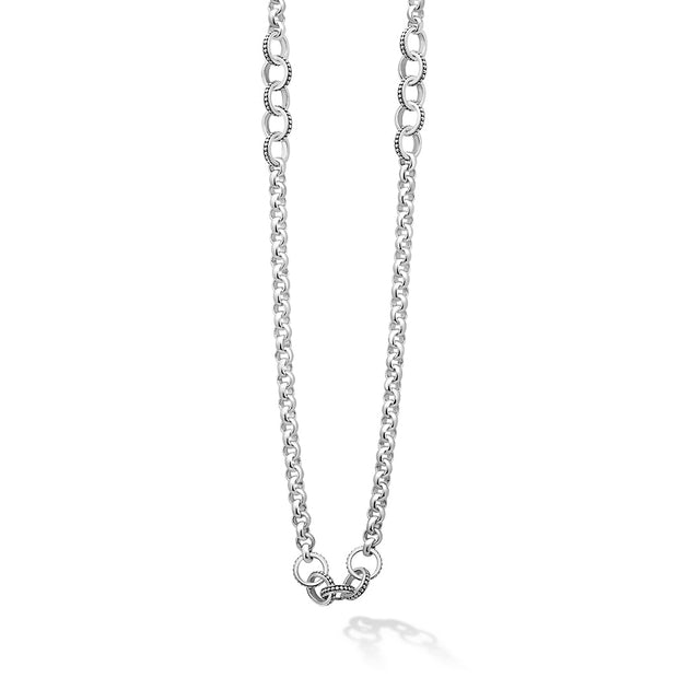 Sterling Silver Signature Caviar Collection Chain Link Necklace