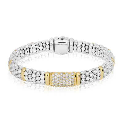 Sterling Silver Caviar Bracelet with 18K Yellow Gold and Diamonds