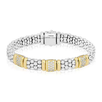 Sterling Silver adn 18K Yellow Gold Caviar Collection Diamond Bracelet