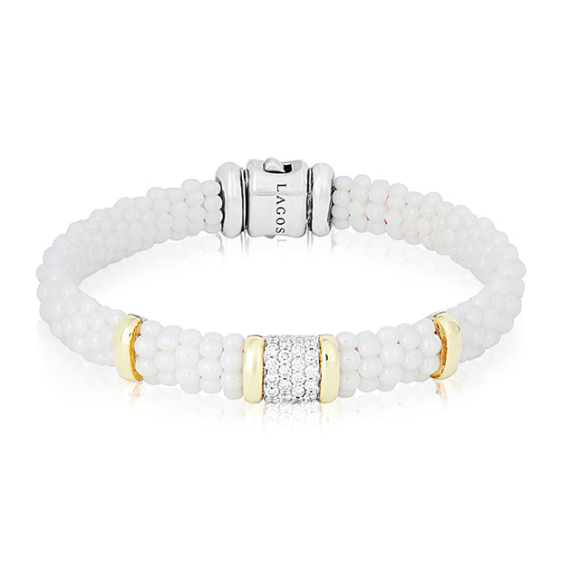 LAGOS White Caviar Collection Ceramic Bracelet with Diamonds