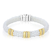 White Caviar Collection Bracelet with 18K Yellow Gold and Diamonds