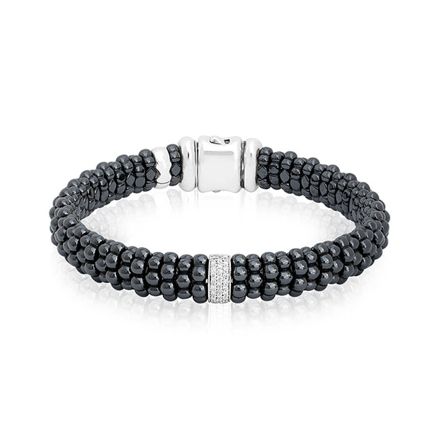 Sterling Silver Black Caviar Collection Black Ceramic and Diamond Bracelet