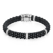 Sterling Silver Black Caviar Collection Ceramic and Diamond Bracelet