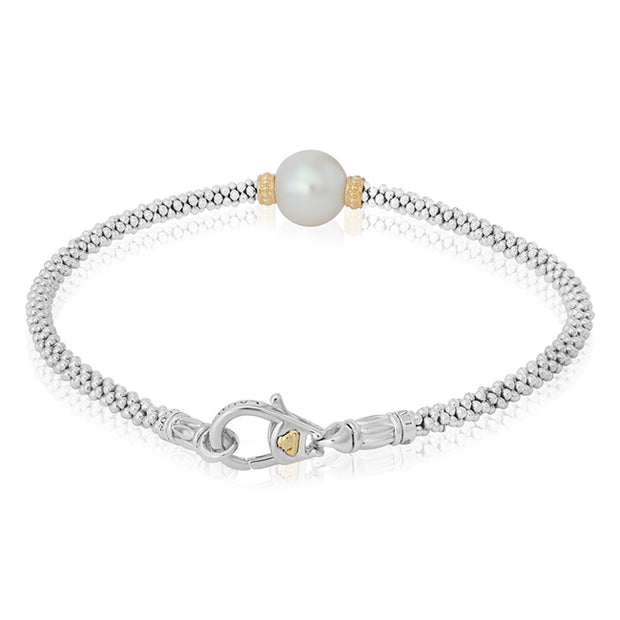 18K Yellow Gold and Sterling Silver Pearl Bracelet