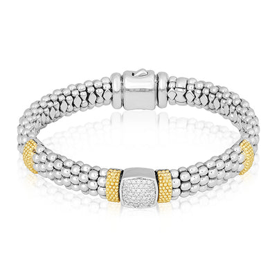 Sterling Silver Caviar Diamond Bracelet with Diamonds and 18K Yellow Gold Beaded Stations
