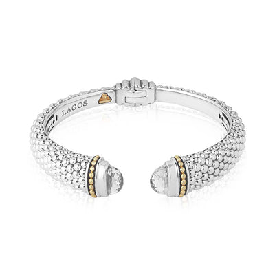 Sterling Silver Caviar Color Collection White Topaz Bracelet