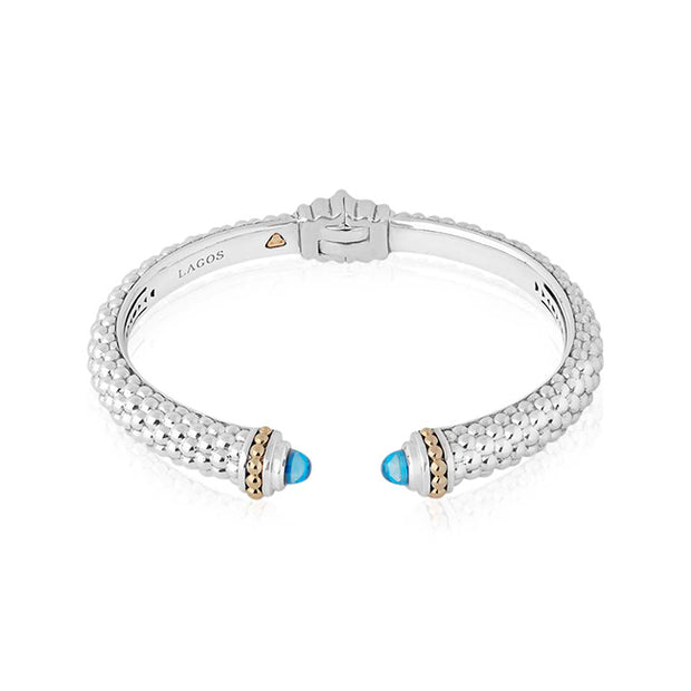 Sterling Silver Caviar Color Colletion Blue Topaz Bracelet