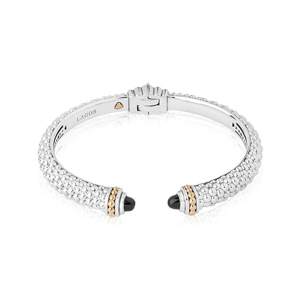 Sterling Silver Caviar Color Collection Black Onyx Bracelet