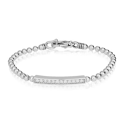 Sterling Silver Caviar Spark Collection Bar Chain Bracelet with Diamonds