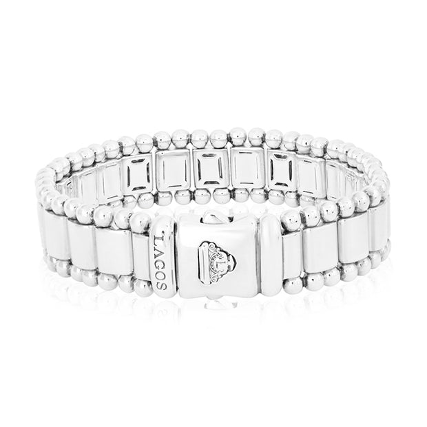 Sterling Silver Caviar Spark Link Bracelet with Diamonds
