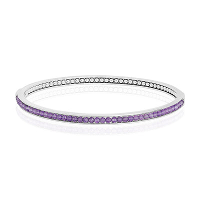 Sterling Silver Bangle Bracelet with Amethyst Beading