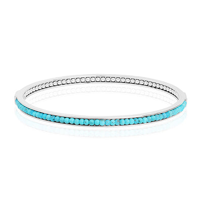 Sterling Silver Bangle Bracelet with Turquoise Beading