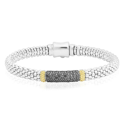 Sterling Silver Diamond Lux Collection Bracelet with  Black Diamonds